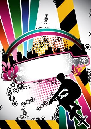 Urban grunge summer composition with bmx biker silhouette Illustration