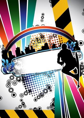 urban grunge: Urban grunge summer composition with wakeboarder silhouette