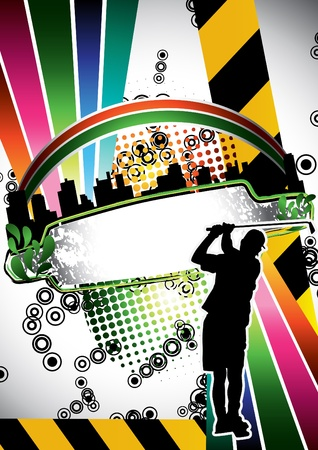 Urban grunge summer composition with golf player silhouette Vector