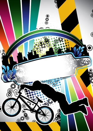 Urban grunge summer composition with bmx biker silhouette Vector