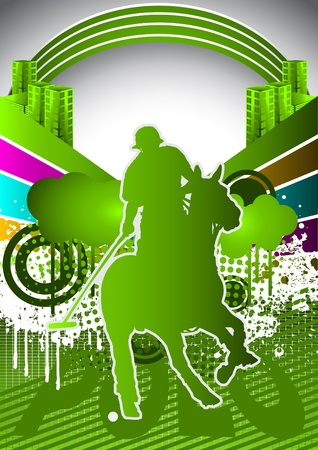 Abstract summer background with polo player silhouette Vector