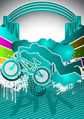 Abstract summer background with bmx cyclist silhouette