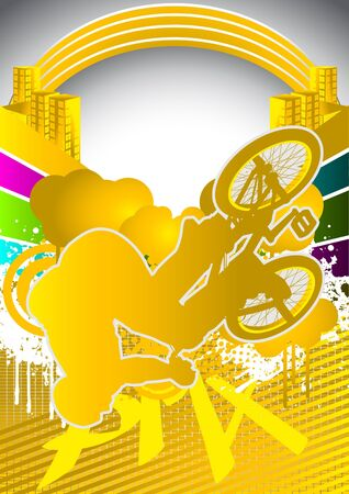 Abstract summer background with bmx cyclist silhouette Vector