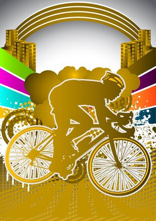 road ring: Abstract summer background with cyclist silhouette