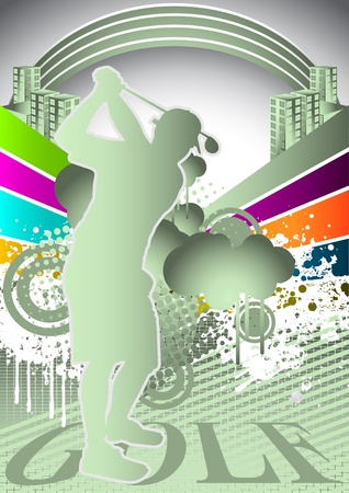 golfing: Abstract summer background with golf player silhouette