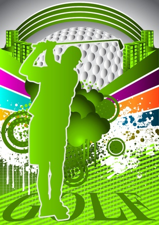Abstract summer background with golf player silhouette