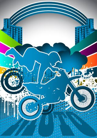 Abstract summer background with motorcyclist silhouette