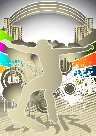 skater: Abstract summer background with skateboarder silhouette