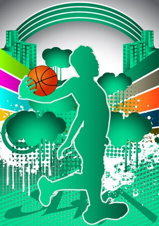 Abstract summer background with basketball player silhouette Vector