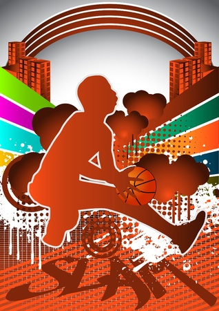 individual sports: Abstract summer background with basketball player silhouette Illustration