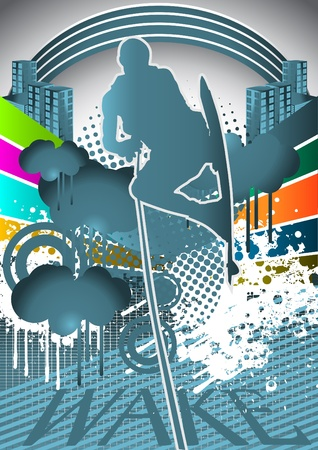 Abstract summer background with wakeboarder player silhouette Vector