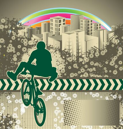 Abstract grunge background with bmx cyclist silhouette Stock Vector - 10547961