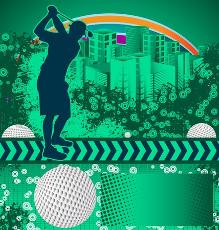 Abstract grunge background with golf player silhouette