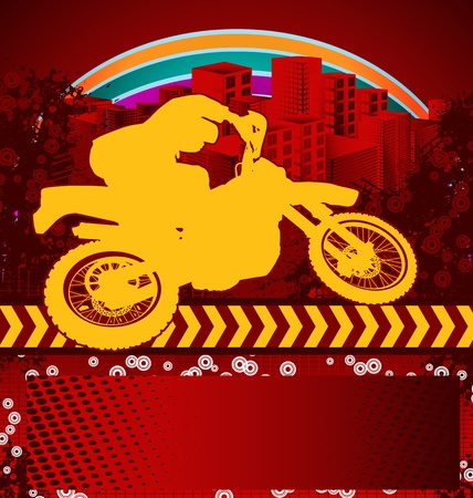 dirt bike: Abstract grunge background with motorcyclist silhouette