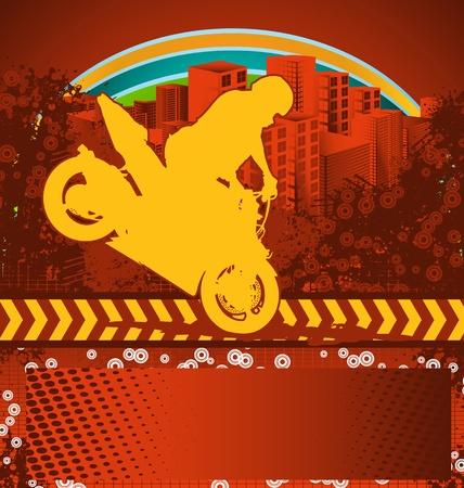 stunts: Grunge sfondo astratto con silhouette motociclista Vettoriali