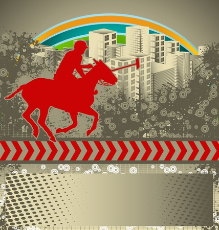 Abstract grunge background with polo player silhouette Vector