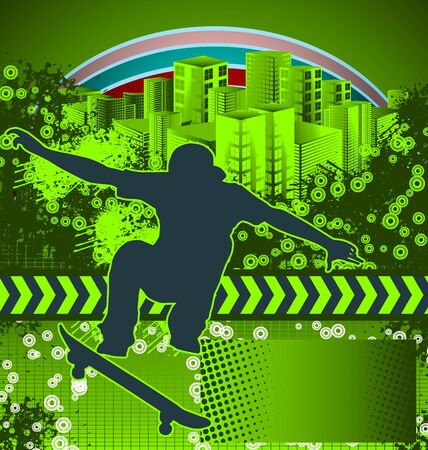 Abstract grunge background with skateboarder silhouette