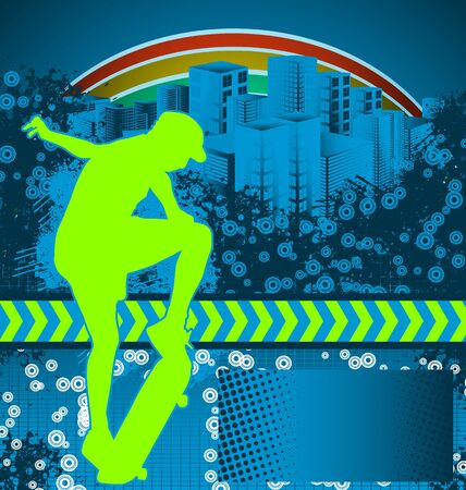 skateboarding tricks: Abstract grunge background with skateboarder silhouette