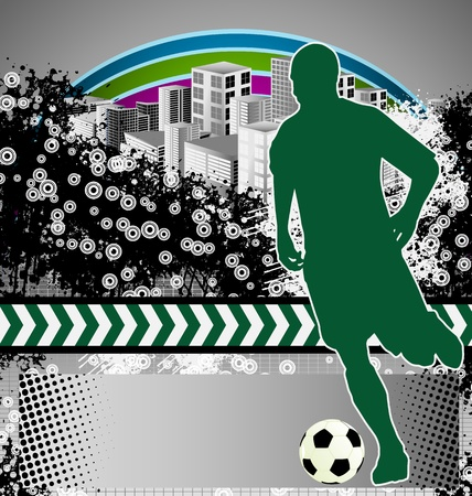 Abstract grunge background with soccer player silhouette Vector