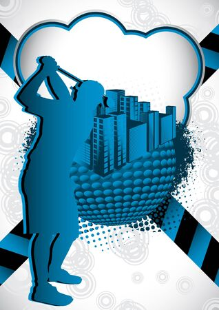 Abstract summer background with with golf player silhouette Vector