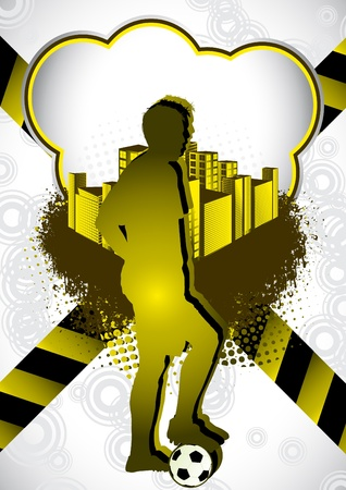 Abstract summer background with with soccer player silhouette Vector