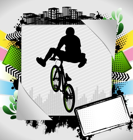 bmx bike: Abstract summer frame with bmx biker silhouette Illustration