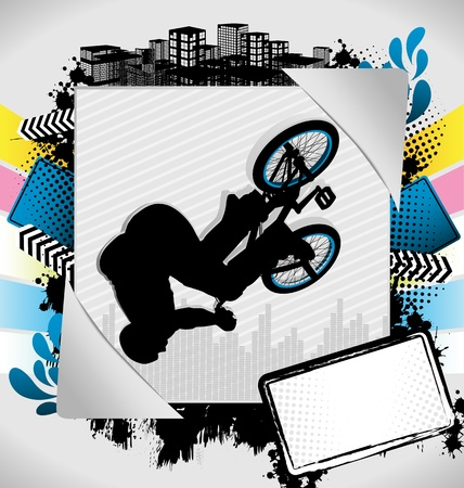 spoke: Abstract summer frame with bmx biker silhouette Illustration
