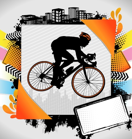 Abstract summer frame with cyclist silhouette Vector