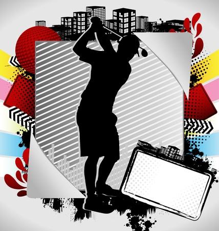 teen golf: Marco de verano abstracto con silueta de jugador de golf Vectores