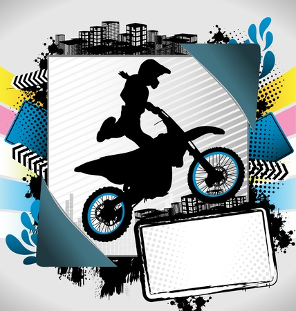 Abstract summer frame with motorcyclist silhouette Vector