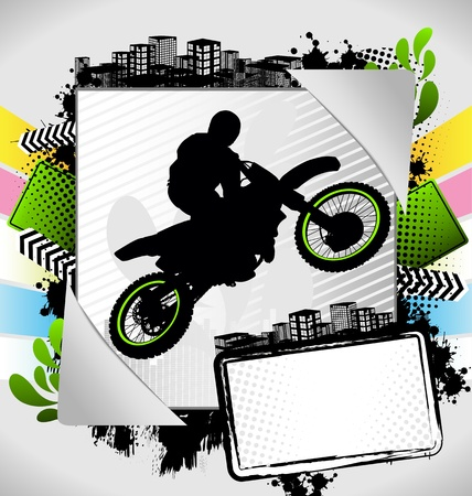off road: Abstract summer frame with motorcyclist silhouette