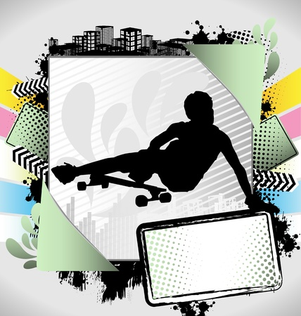 Abstract summer frame with longboarder silhouette
