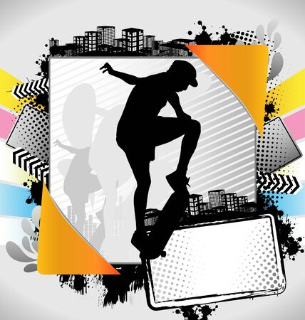 bloomed: Abstract summer frame with skateboarder silhouette Illustration