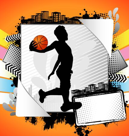 Abstract summer frame with basketball player silhouette