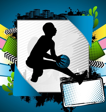 Abstract summer frame with basketball player silhouette Vector