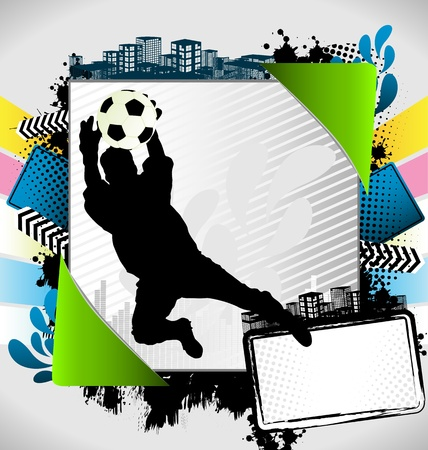 Abstract summer frame with soccer player silhouette Vector