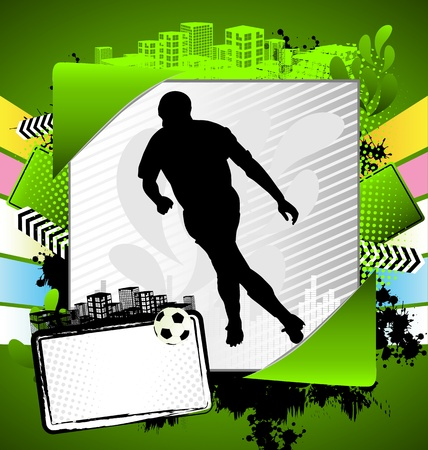 Abstract summer frame with soccer player silhouette