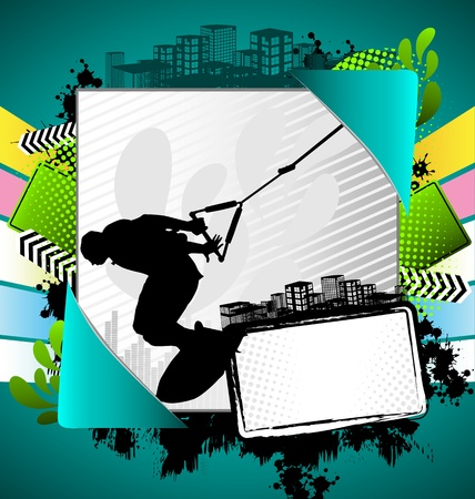 wakeboarding: Abstract summer frame with wakeboarder silhouette