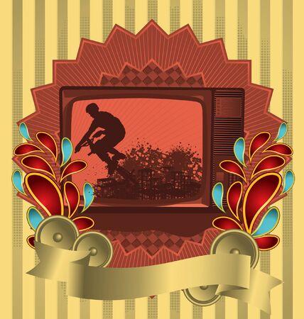 show time: Vintage background design with antique TV. Vector illustration.
