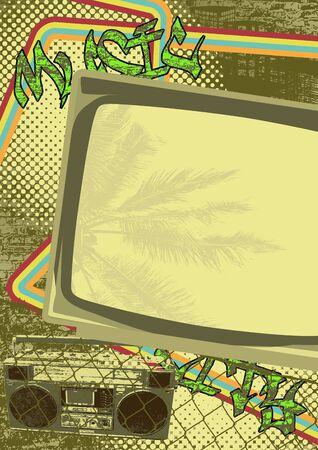 movie poster: Vintage urban grunge background design with antique TV. Vector illustration.