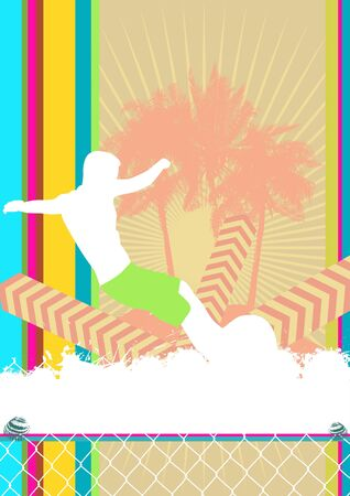 bloomed: Summer background design with surfer silhouette. Vector illustration.