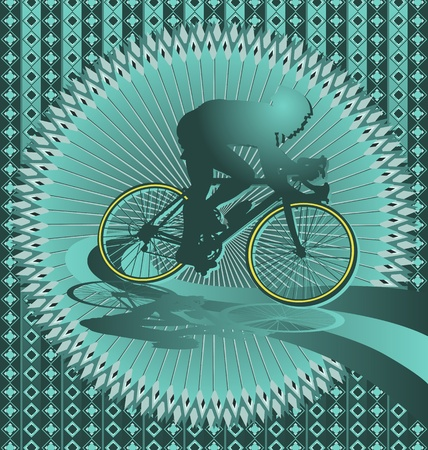 bike riding: Vintage background design with cyclist silhouette. Vector illustration.