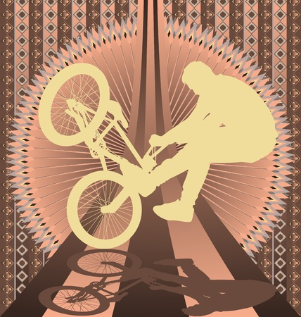 bmx bike: Vintage background design with bmx biker silhouette. Vector illustration.
