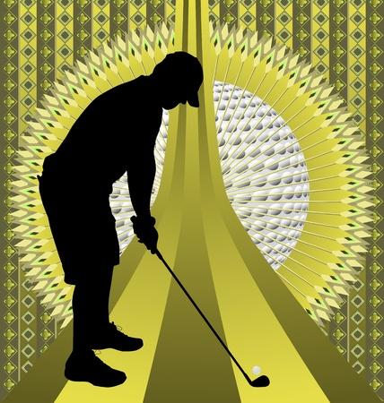 Vintage background design with golfer silhouette. Vector illustration.