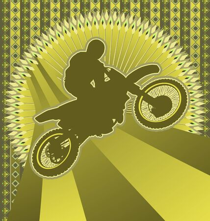 dirt bike: Vintage background design with motorcyclist silhouette. Vector illustration.