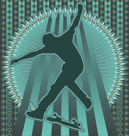 Vintage background design with skateboarder silhouette. Vector illustration.