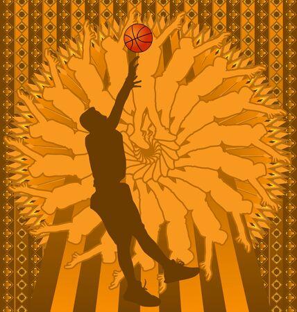 slam dunk: Vintage background design with basketball player silhouette. Vector illustration. Illustration