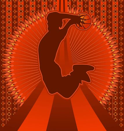 Vintage achtergrond ontwerp met basketballer silhouet. Vector illustratie. Stock Illustratie
