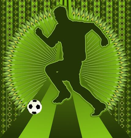 champ: Vintage background design with soccer player silhouette. Vector illustration. Illustration