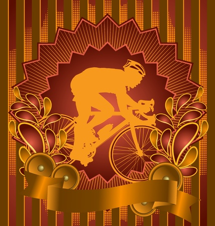 Vintage background design with bicyclist silhouette. Vector illustration. Vector